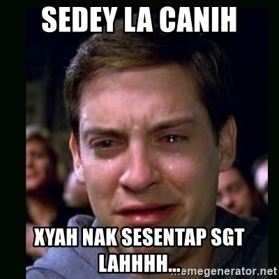 crying peter parker - Sedey la canih Xyah nak sesentap sgt lahhhh...