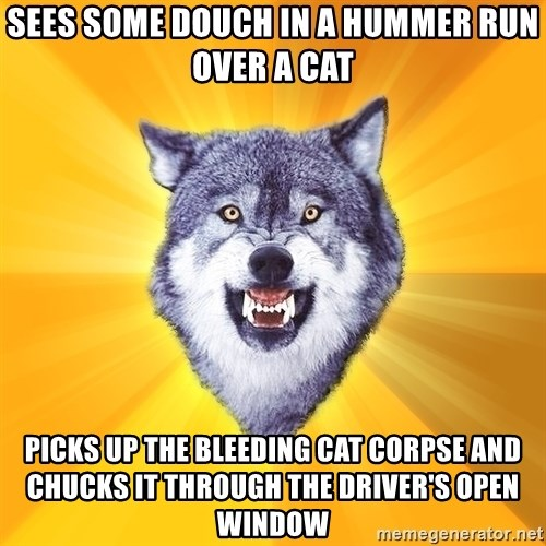 Courage Wolf - sees some douch in a hummer run over a cat picks up the bleeding cat corpse and chucks it through the driver's open window