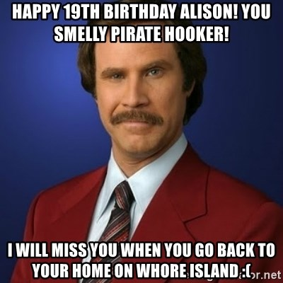 happy 19th birthday alison you smelly pirate hooker i will miss you when you go back to your home on happy 19th birthday alison! you smelly pirate hooker! i will miss