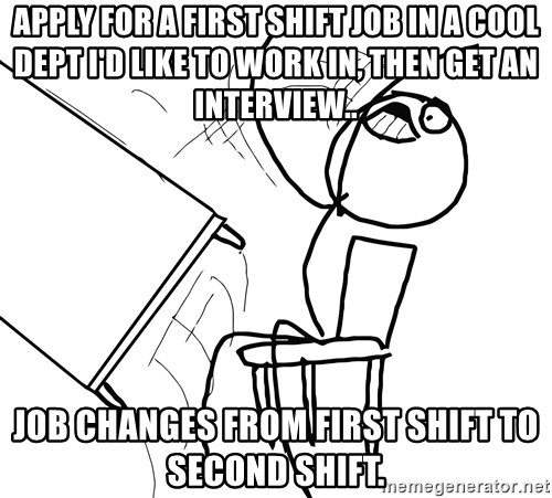 apply for a first shift job in a cool dept id like to work in then get an interview job changes from first shift to second shift - 2nd Shift Careers 2nd Shift Employment 2nd Shift Jobs