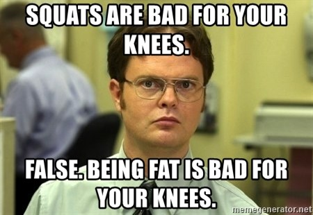 Dwight Schrute - Squats are bad for your knees. False. Being fat is bad for your knees.