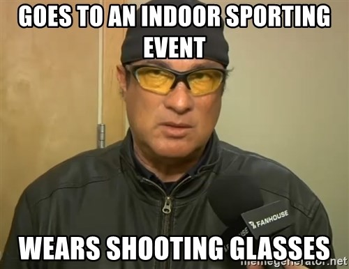 Steven Seagal Mma - Goes to an indoor sporting event wears shooting glasses