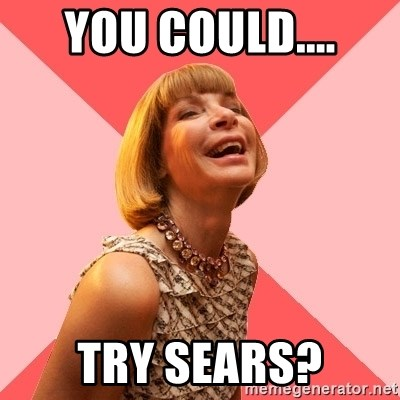 Amused Anna Wintour - you could.... try sears?