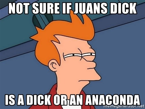 Futurama Fry - Not sure if juans dick Is a dick or an anaconda