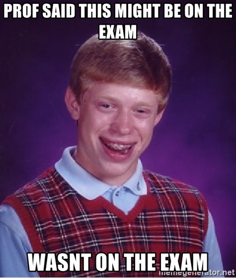 Bad Luck Brian - Prof Said This Might Be on The Exam Wasnt On the Exam