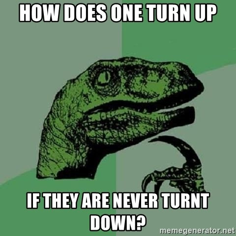 Philosoraptor - How does one turn up if they are never turnt down?