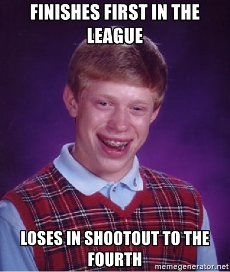 Bad Luck Brian - Finishes first in the league Loses in shootout to the fourth