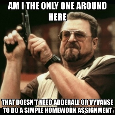 am i the only one around here - am i the only one around here that doesn't need adderalL OR VYVANse to do a simple homework assignment