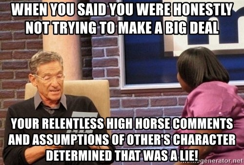 Maury Lie Detector - When you said you were honestly not trying to make a big deal Your relentless high horse comments and assumptions of other's character determined that was a lie!