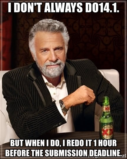 The Most Interesting Man In The World - I don't always do14.1. But when I do, I redo it 1 hour before the submission deadline.