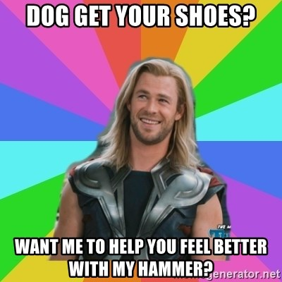Overly Accepting Thor - Dog get your shoes? Want me to help you feel better with my hammer?