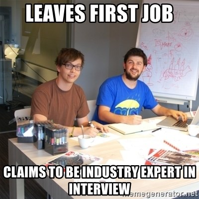 Naive Junior Creatives - leaves first job claims to be industry expert in interview