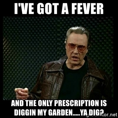 Christopher Walken Cowbell - I'VE GOT A FEVER  and the only prescription is diggin my garden.....ya dig?