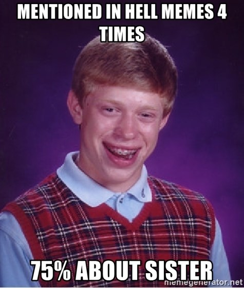 Bad Luck Brian - Mentioned in hell memes 4 times 75% about sister