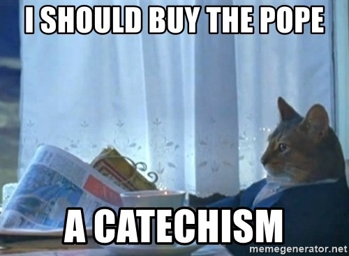 newspaper cat realization - I should buy the Pope a Catechism