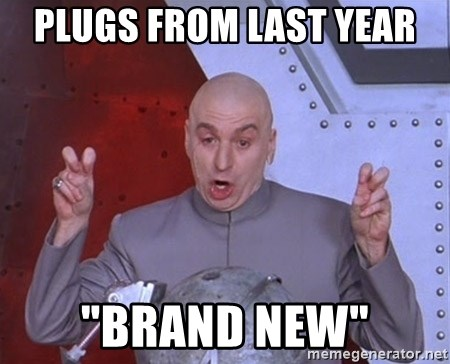 """Dr. Evil Air Quotes - plugs from last year  """"brand new"""""""
