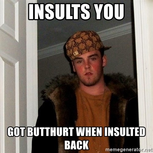 Scumbag Steve - Insults you Got butthurt when insulted back