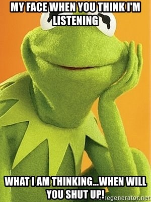 Kermit the frog - My face when you think I'm listening What I am thinking...when will you shut up!