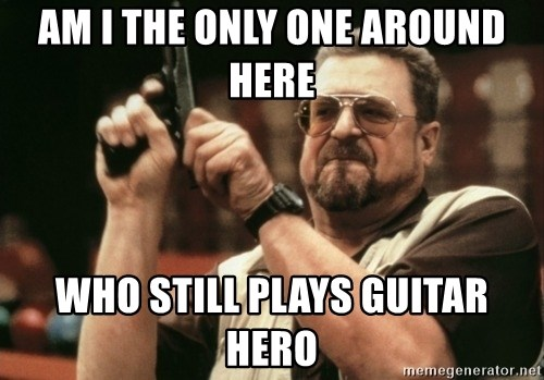Walter Sobchak with gun - AM i the only one around here who still plays guitar hero