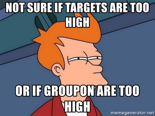 Futurama Fry - not sure if targets are too high  or if groupon are too high