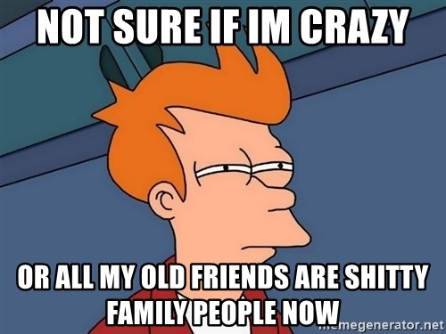 Futurama Fry - NOT SURE IF IM CRAZY OR ALL MY OLD FRIENDS ARE SHITTY FAMILY PEOPLE NOW