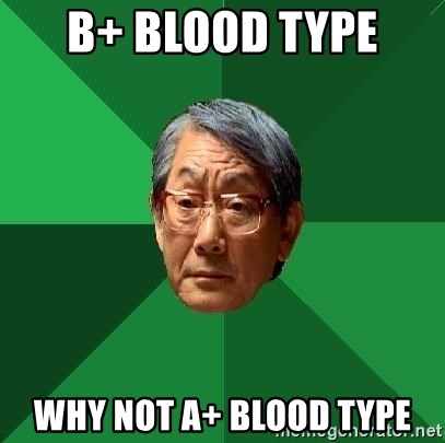 High Expectations Asian Father - B+ Blood Type  Why Not A+ Blood Type