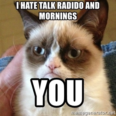 Grumpy Cat  - I hate talk radido and mornings You