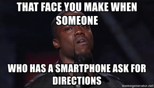 Kevin Hart Face - That face you make when someone who has a smartphone ask for directions