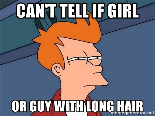 Futurama Fry - can't tell if girl or guy with long hair