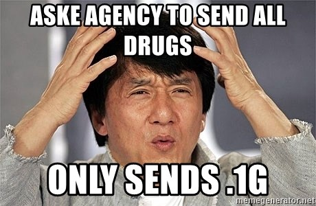 Jackie Chan - aske agency to send all drugs only sends .1g