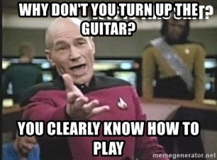 Patrick Stewart WTF - Why don't you turn up the guitar? You clearly know how to play