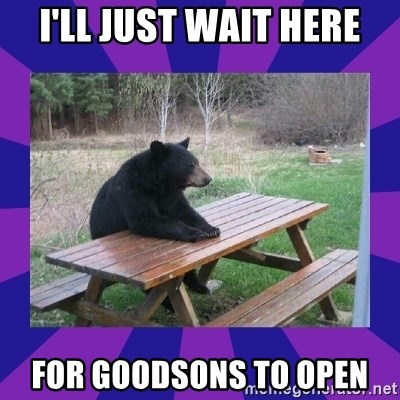 waiting bear - I'll just wait here for goodsons to open