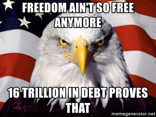 American Pride Eagle - Freedom ain't so free anymore 16 trillion in debt proves that