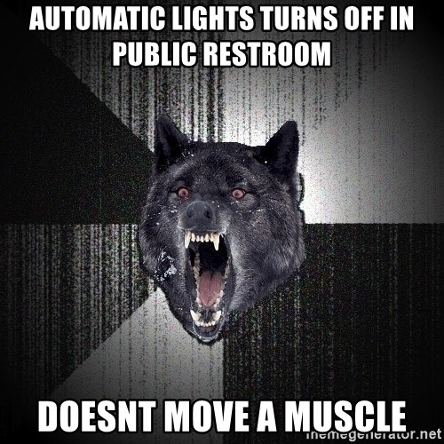 Insanity Wolf - automatic lights turns off in public restroom doesnt move a muscle