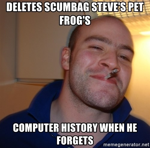 Good Guy Greg - deletes scumbag steve's pet frog's computer history when he forgets