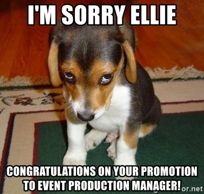 Sad Puppy - I'm sorry Ellie Congratulations on your promotion to event production manager!