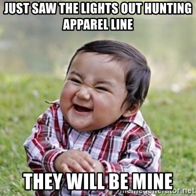 evil toddler kid2 - Just saw the lights out hunting Apparel line They will be mine