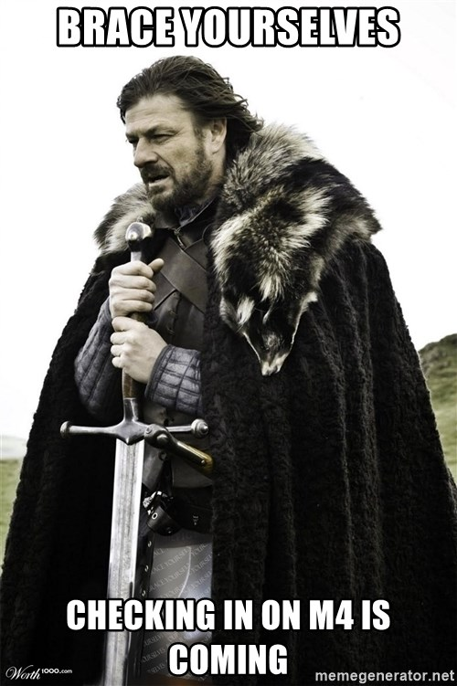 Brace Yourselves.  John is turning 21. - brace yourselves checking in on m4 is coming