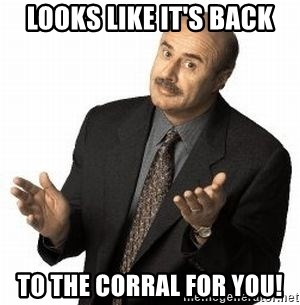 Dr. Phil - Looks like it's back To the Corral for you!