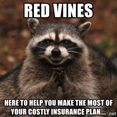 evil raccoon - red vines here to help you make the most of your costly insurance plan....