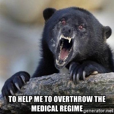 Insane Confession Bear -  to help me to overthrow the medical regime
