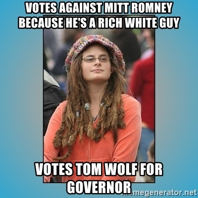 hippie girl - Votes against Mitt Romney because he's a rich white guy Votes Tom Wolf for governor