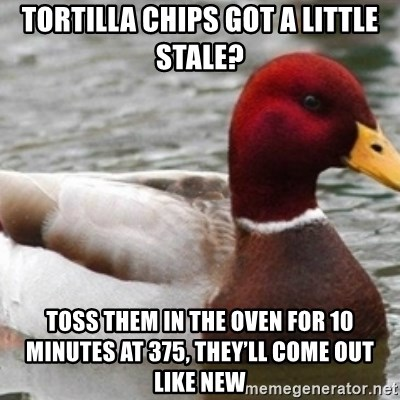 Bad Advice Mallard - TORTILLA CHIPS GOT A LITTLE STALE? TOSS THEM IN THE OVEN FOR 10 MINUTES AT 375, THEY'll COME OUT LIKE NEW