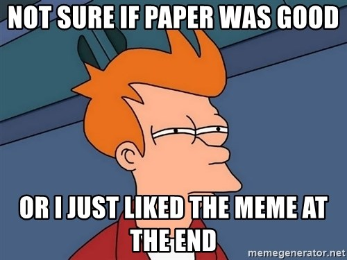 Futurama Fry - not sure if paper was good or i just liked the meme at the end