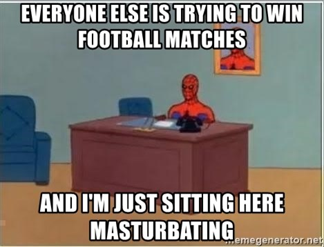 Spiderman Desk - EVERYONE ELSE IS TRYING TO WIN FOOTBALL MATCHES AND I'M JUST SITTING HERE MASTURBATING