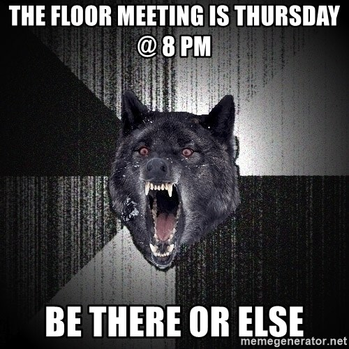 Insanity Wolf - The Floor meeting is thursday @ 8 pm be there or else