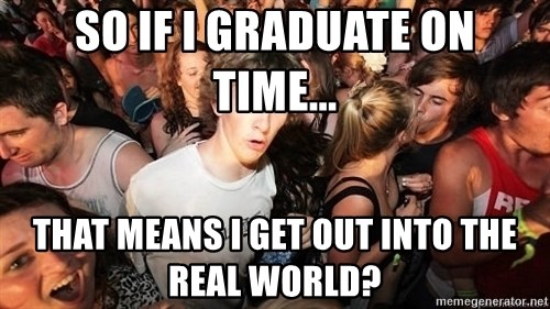 Sudden Realization Ralph - So if I Graduate on time... That means I get out into the real world?