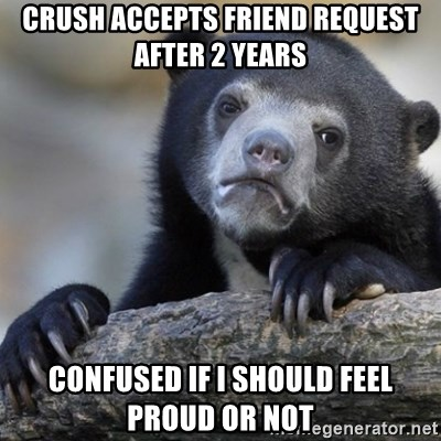 Confession Bear - crush accepts friend request after 2 years confused if i should feel proud or not