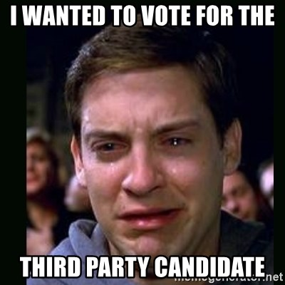 crying peter parker - I wanted to vote for the third party candidate
