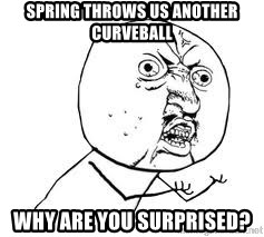 Y U SO - Spring throws us another curveball Why are you surprised?